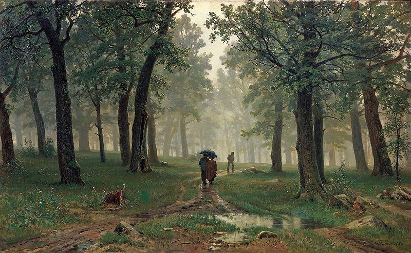 Shishkin-lluvia en un bosque de robles